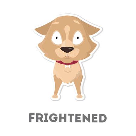 Isolated scared dog. Illustration