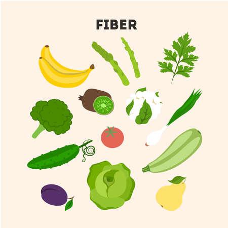 Fiber foods set. Illustration