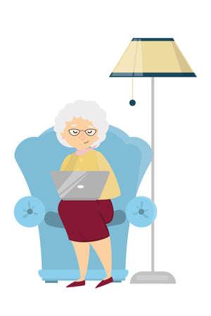 노트북 늙은 여자. 스톡 콘텐츠 - 91012259