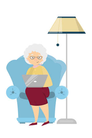Old woman with laptop. Illustration