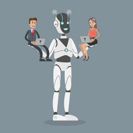 Robot holding people. Illustration