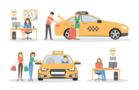 Taxi and people.