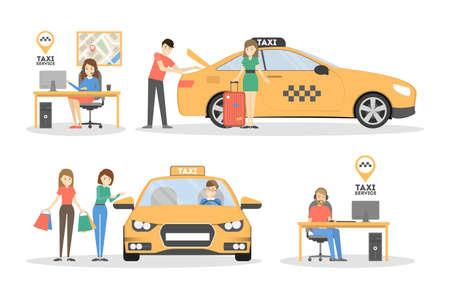 Taxi en mensen. Stock Illustratie