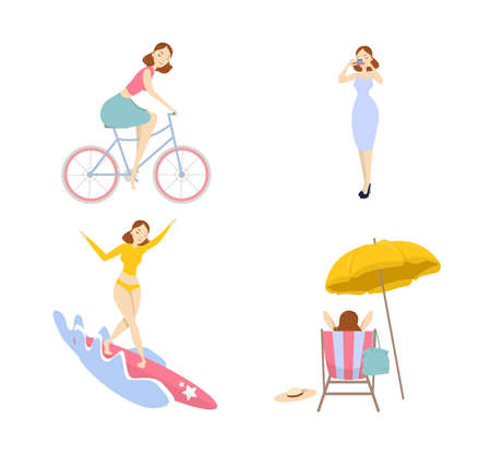 Woman on vacation set. Isolated young woman surfing, taking photo and cycling.