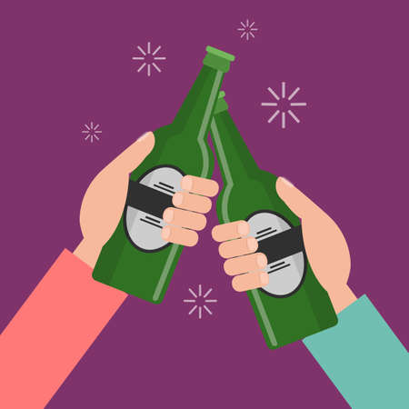 Clinking hands with beer bottles on bright background.