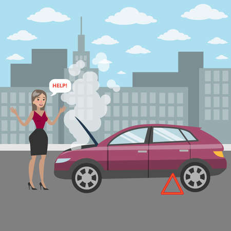 Woman with broken car's engine asking for help on the road.