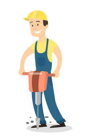 Isolated worker with jackhammer in uniform on white background. Illustration