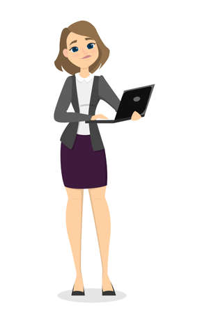 Isolated businesswoman standing with laptop on white illustration.