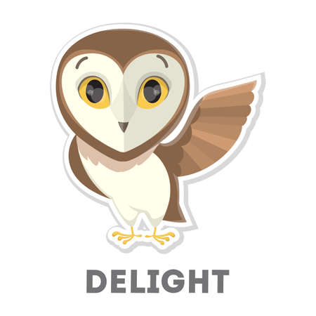 Isolated delighted cartoon owl on white illustration. Illustration