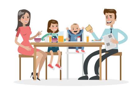 Les parents et les enfants mangent ensemble. Banque d'images - 91398753