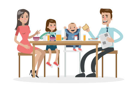 Parents and kids eating together. Stock Illustratie