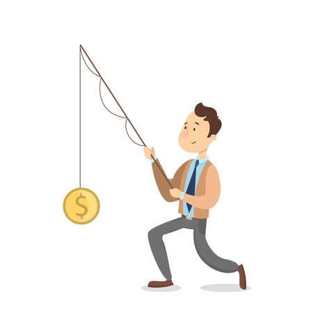 Businessman catching dollar. Illustration