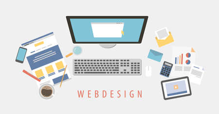 Web design desk. Illustration