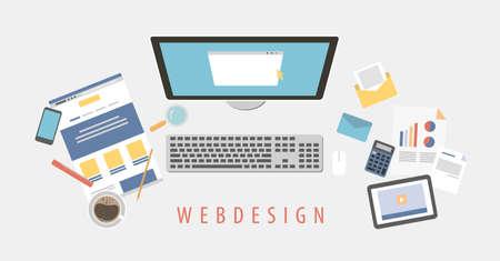 Web design desk. Stock Illustratie