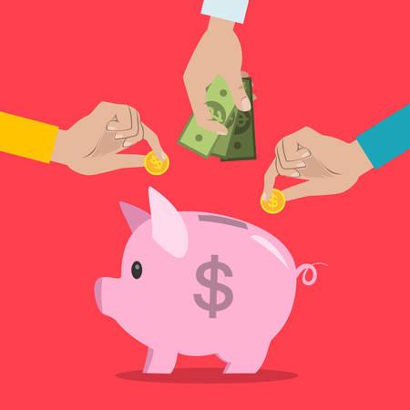 Putting money in piggybank.