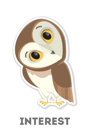 Isolated interested owl. Illustration