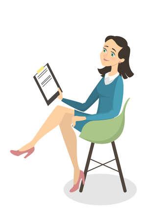 Isolated woman psychologist. Stock Illustratie