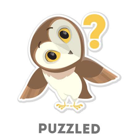 Isolated puzzled owl. Illustration