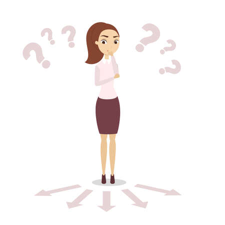 Isolated confused businesswoman. Illustration
