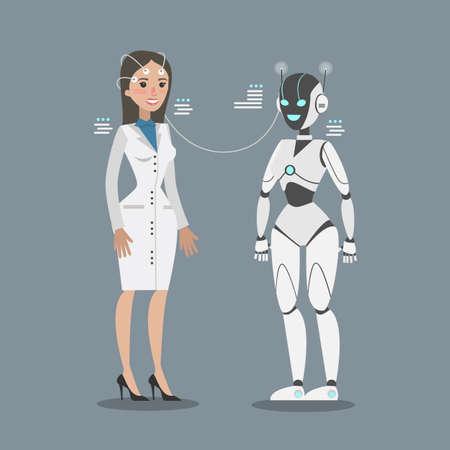 Robot che si collega con la donna. Vettoriali
