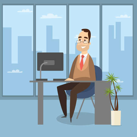 Man in the office. Illustration