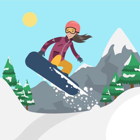 Woman on snowboard.