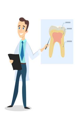 Zahnarzt , der gesunden Zahn mit Stock untersucht