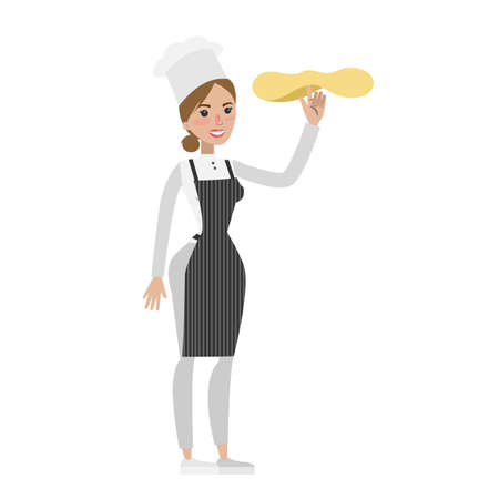 Isolated female chef. Illustration