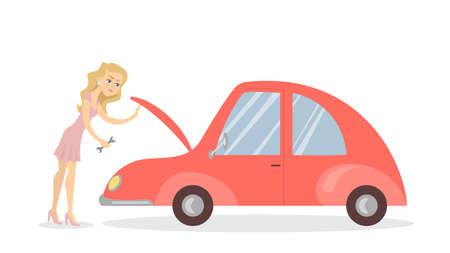 壊れた車を持つ女性。  イラスト・ベクター素材