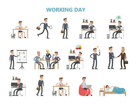 Rotina diária de empresário. Ilustración de vector