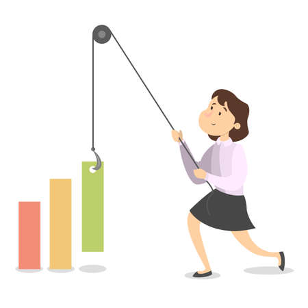 Isolated pushing businesswoman. Illustration
