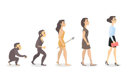 Stages of woman advancement. Illustration