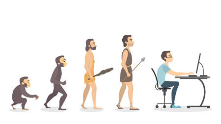 Evolution of programmer in colored illustration.