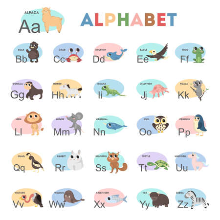 Kids animals alphabet with colorful illustrations. Yak and vulture, bear and rabbit. Illustration