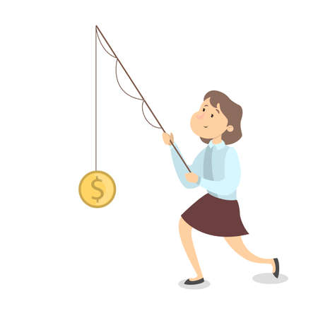 Isolated businesswoman catching golden dollar coin with fishing rod.