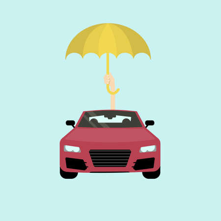 Car insurance concept. Safe and protected car with umbrella.