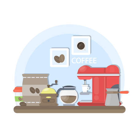 Coffee on table with machine, grinder and beans.