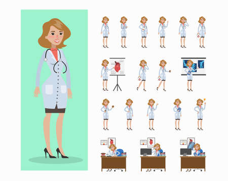 Doctor woman set. Poses and movings, presentations and treatment.