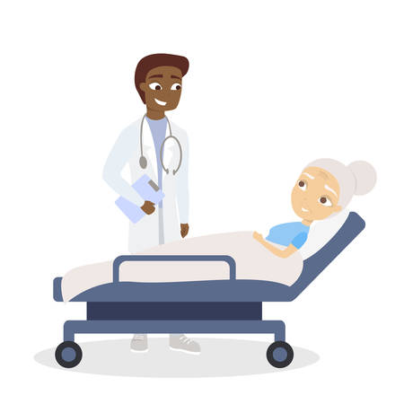 Doctor and old patient. in the ward on white background. Illustration