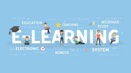 Ilustracja koncepcja e-learningu. Idea edukacji online.