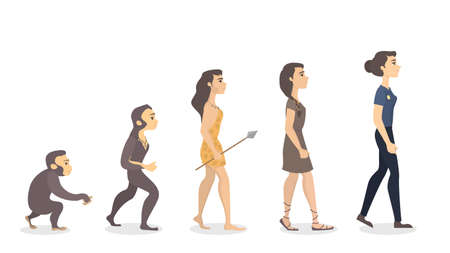 Evolution of woman. From monkey to police officer. Vectores