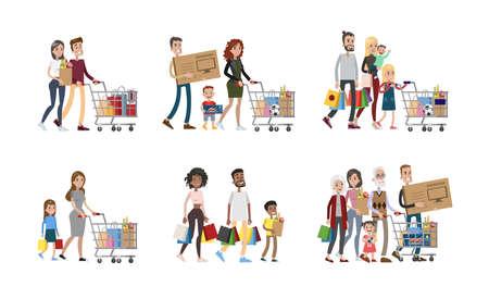 Familie bij winkelen set. Ouders en kinderen, grootouders en baby's.
