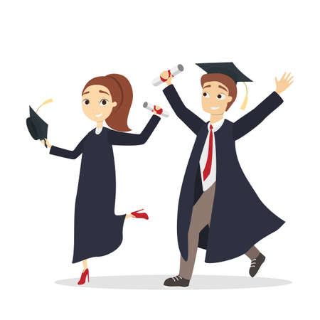 Isolated graduated students in unifrom with diploma. Illustration