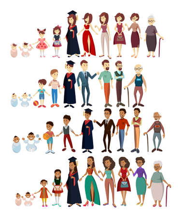 People life stages. African and caucasian man and woman. Illustration