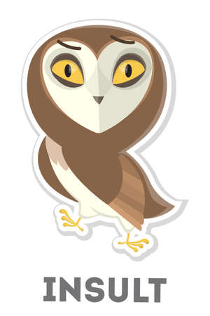 Isolated insulted cartoon owl on white background.
