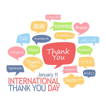International Thank You Day. Different languages thanking.