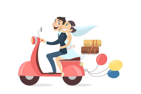 Just married couple riding scooter with balloons and luggage on white background.