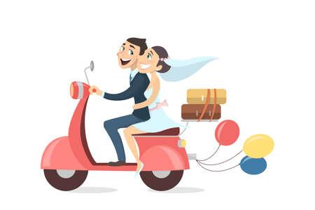 Net echtpaar paardrijden scooter met ballonnen en bagage op witte achtergrond.