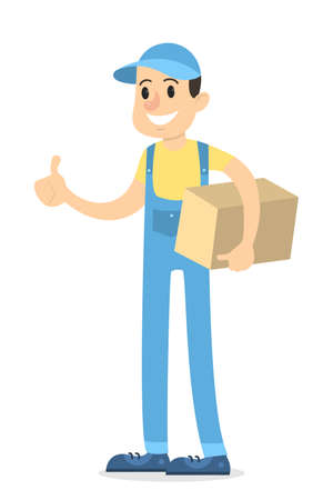 Isolated delivery man with parcel on white background.