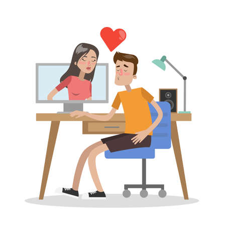 Couple dating online using computer. Love chat with kissing.